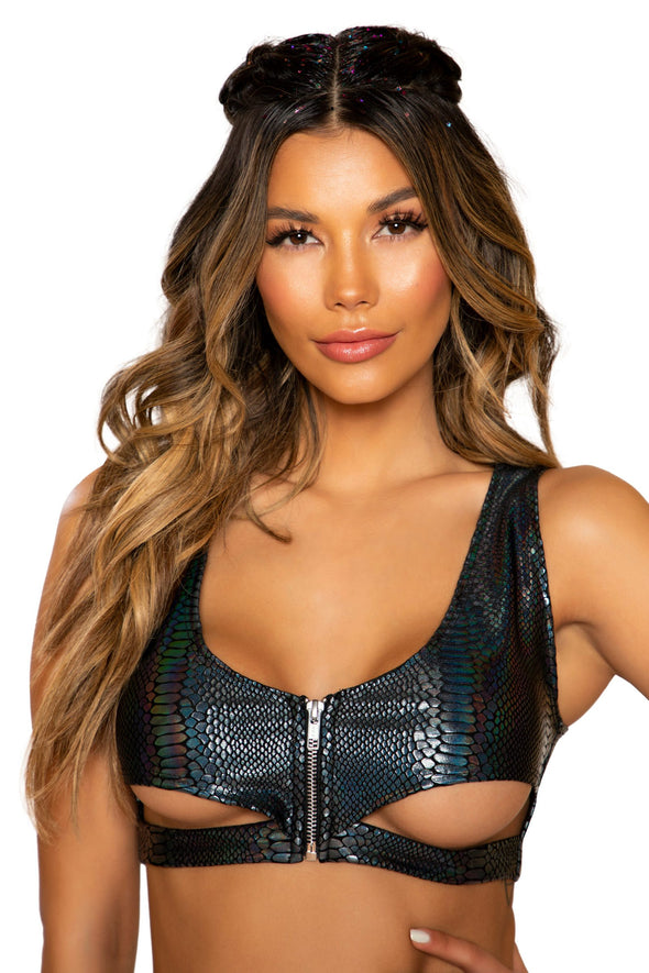 Snake Skin Crop Top with Underboob Cutout