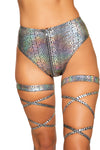 Snake Skin High-Waisted Shorts with Zipper Closure