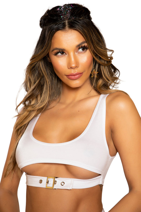 Crop Top with Underboob Detail and Buckle Closure