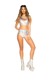 Shiny Metallic Crop Top with Zipper Closure