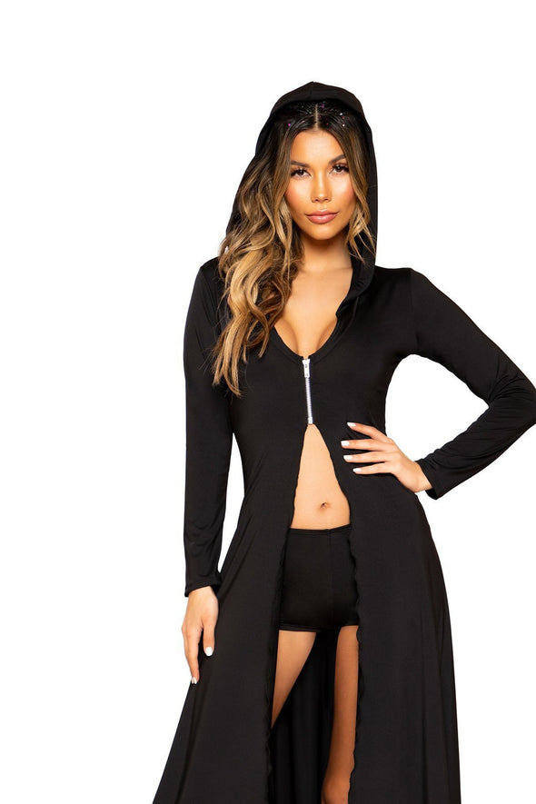 2pc Hooded Robe with Zipper Closure and Shorts