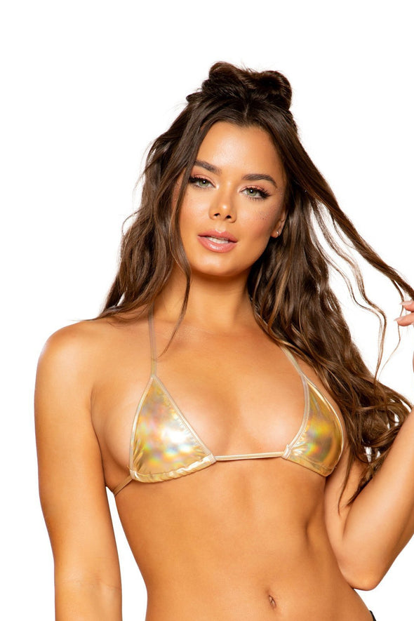 Metallic Foil Triangle Bikini Top