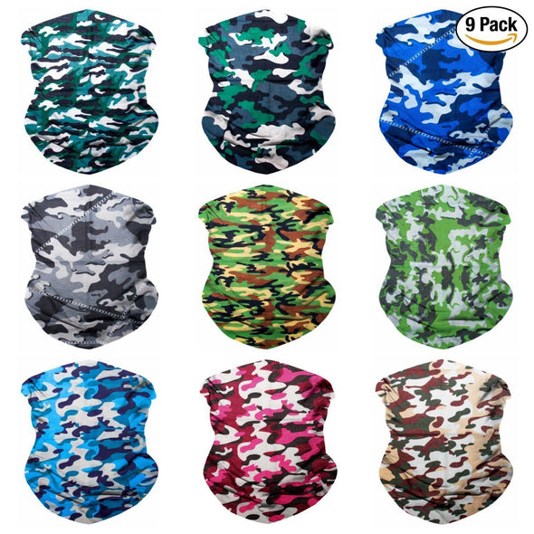Fanny Pack 9PCS Seamless Bandanas Face Mask Headband Scarf Headwrap Neckwarmer & More – 12-in-1 Multifunctional for Music Festivals, Raves, Riding, Outdoors (Camo 1) - SoJourner Bags