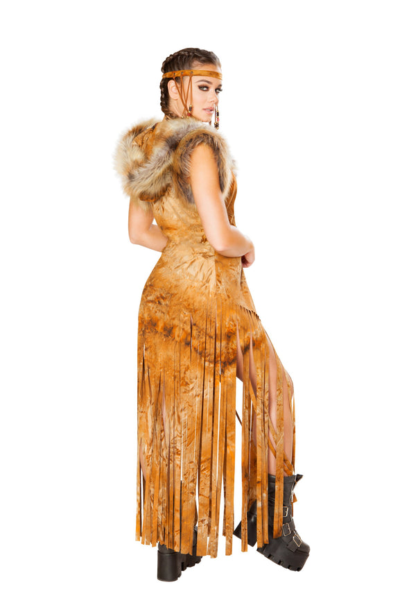 Rave Clothing, Rave Outfits - Hooded Fringe Faux Suede Duster - RaverNationShop