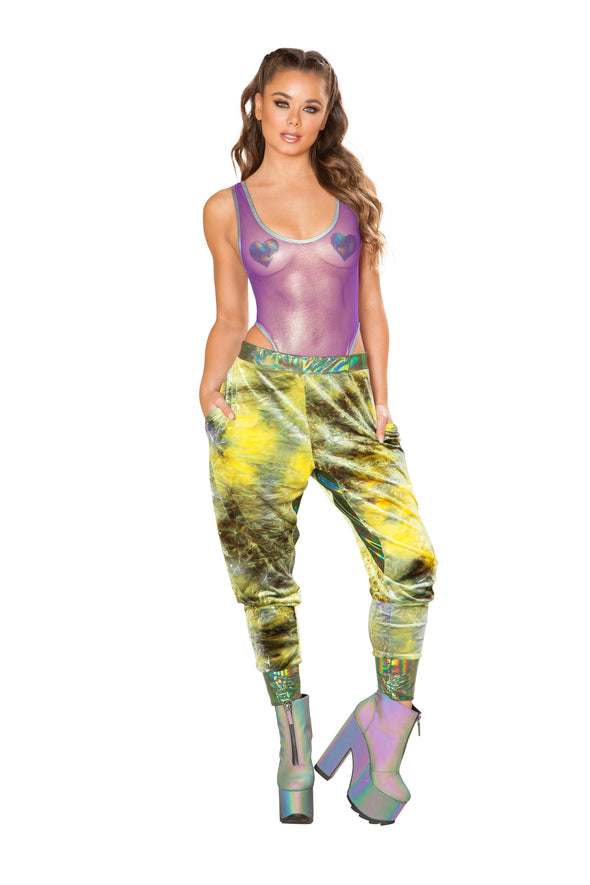 Rave Clothing, Rave Outfits - Velvet Joggers - RaverNationShop