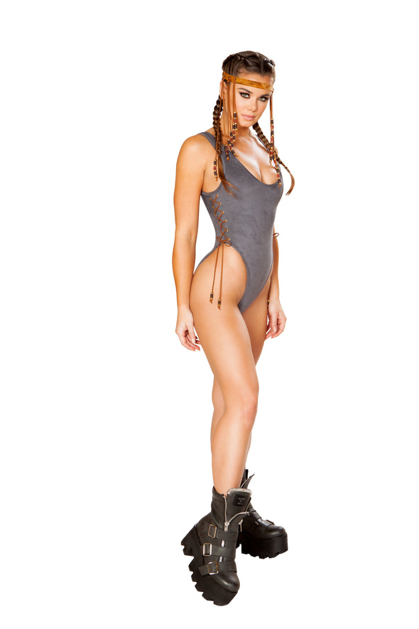 Rave Clothing, Rave Outfits - Lace Up Faux Suede Bodysuit - RaverNationShop