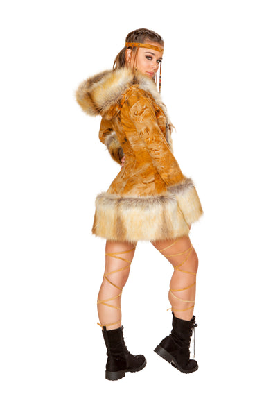 Rusty/Fox Faux Fur Hooded Coat-Outerwear-RaverNation