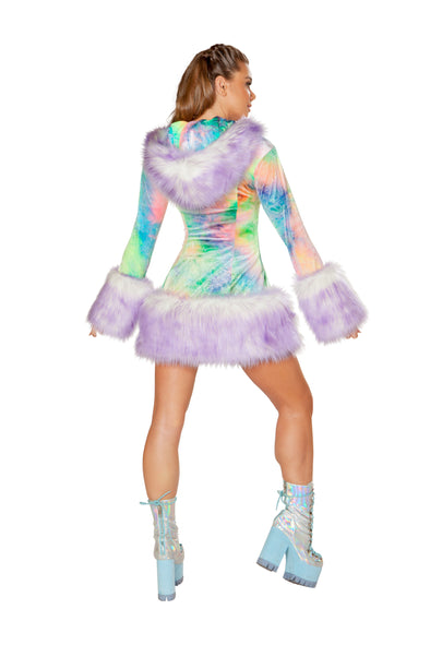Pastel Tie-Dye/Lavender Tips Faux Fur Hooded Coat-Outerwear-RaverNation