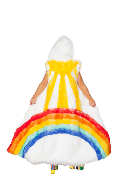 Rainbow Sunshine Faux Fur Duster-Outerwear-RaverNation