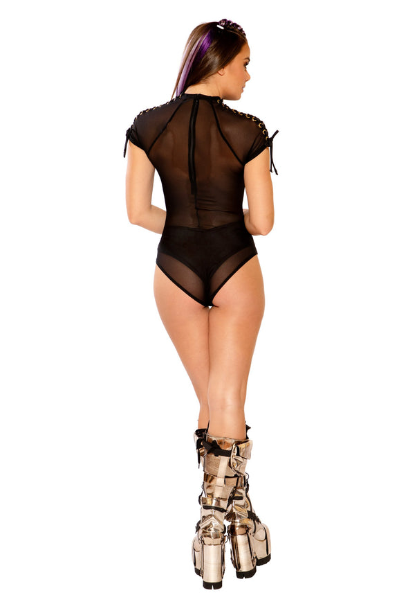 Lace-Up Shoulder Bodysuit