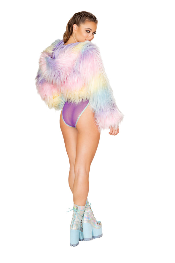 Rave Clothing, Rave Outfits - Light-Up Candyland / White Lights Cropped Jacket - RaverNationShop