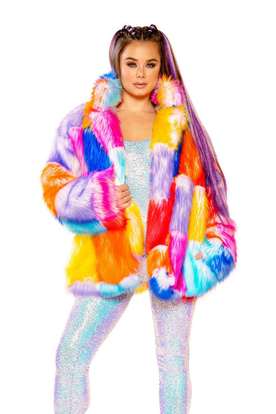 Rainbow Patchwork Faux Fur Coat