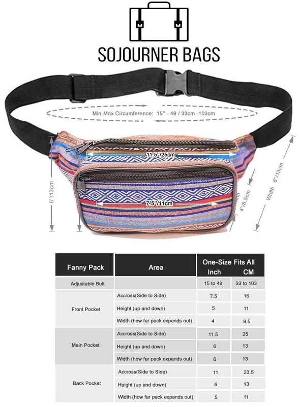 Fanny Pack Woven Boho Blue Indigo Blue Fanny Pack - SoJourner Bags