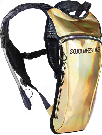 Fanny Pack Hydration Pack Backpack - 2L Water Bladder - Holographic Gold - SoJourner Bags