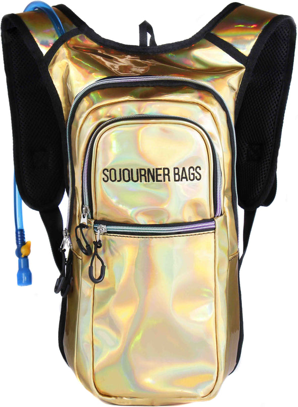 Fanny Pack Medium Hydration Pack Backpack - 2L Water Bladder - Holographic Gold - SoJourner Bags