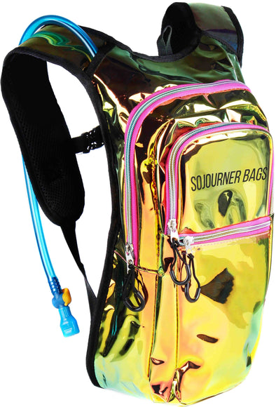 Fanny Pack Medium Hydration Pack Backpack - 2L Water Bladder - Laser Holographic Pink - SoJourner Bags