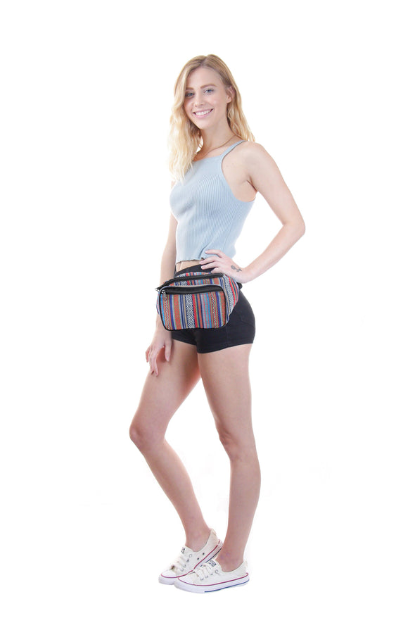 Fanny Pack Woven Boho Sky Blue Fanny Pack - SoJourner Bags