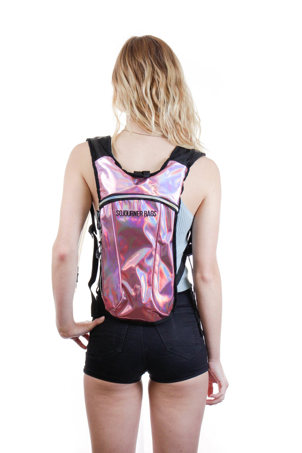 Fanny Pack Hydration Pack Backpack - 2L Water Bladder - Holographic Pink - SoJourner Bags