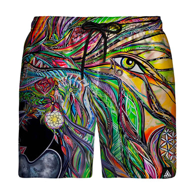 Neon Synchronicity Swim Trunks