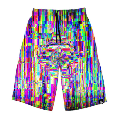 Abstract Glitch Long Shorts
