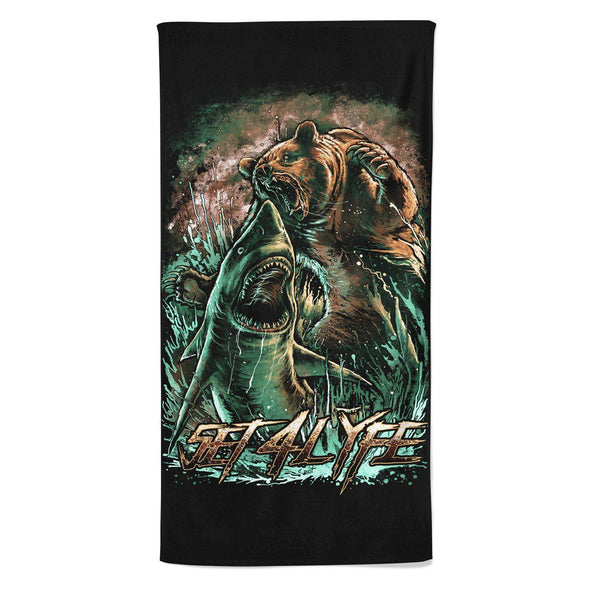 Set 4 Lyfe - BEAR VS SHARK BEACH THROW TOWEL - Clothing Brand - Beach Towel - SET4LYFE Apparel