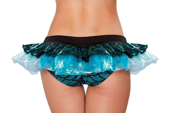 Mermaid Shorts with Attached Iridescent Skirt