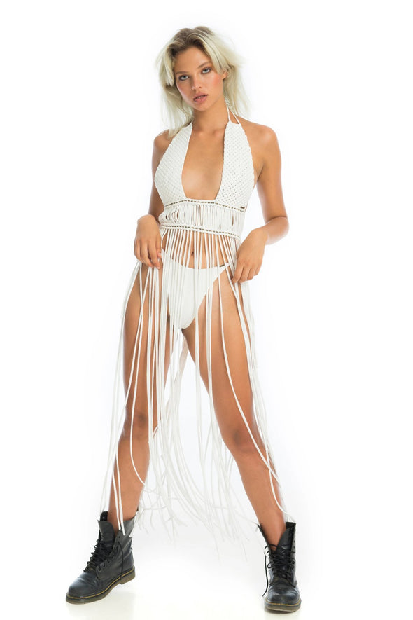 white gypsy festival dress, maxi macrame fringe top | Ladee Taha