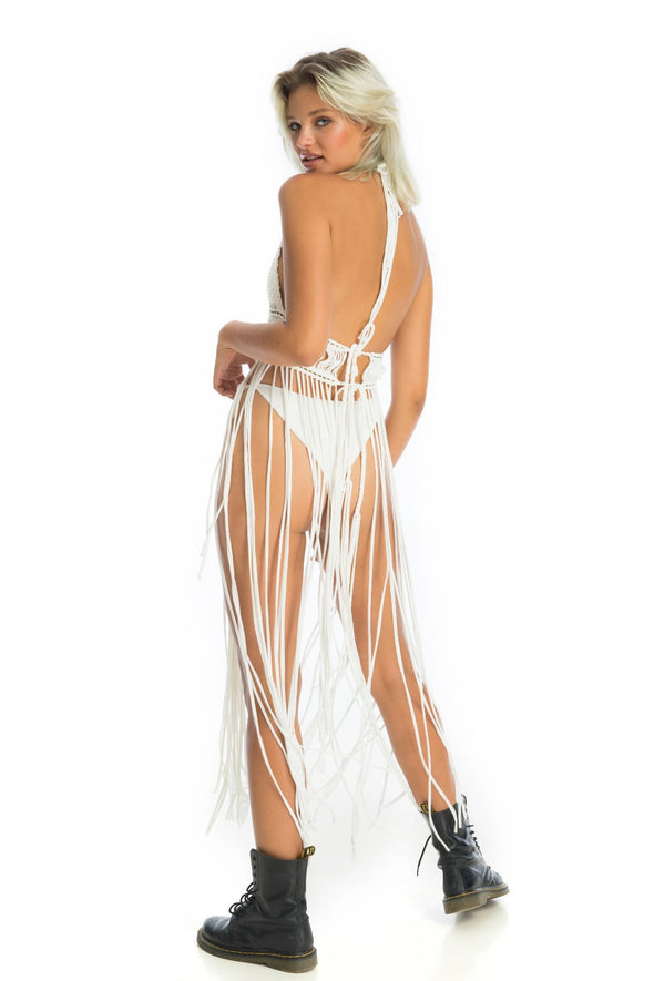Open back sexy adjustable rave outfit, long flowy macrame dress | Ladee Taha
