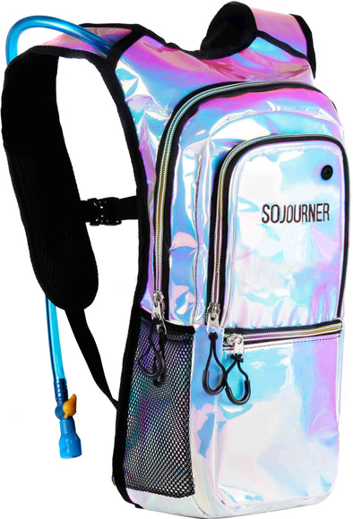 Fanny Pack Medium Hydration Pack Backpack - 2L Water Bladder - Holographic Blue - SoJourner Bags