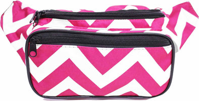 Fanny Pack Chevron Fanny Pack (Magenta & White) - SoJourner Bags