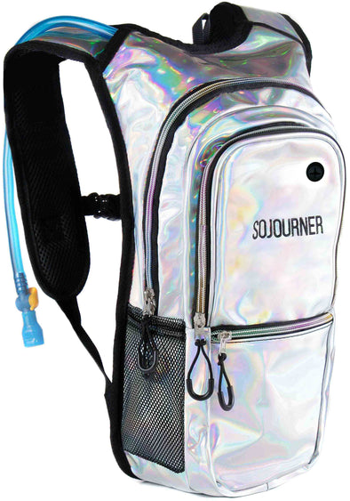 Fanny Pack Medium Hydration Pack Backpack - 2L Water Bladder - Holographic - Silver - SoJourner Bags