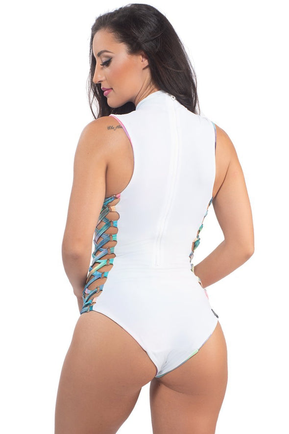 Espionage Reversible Bodysuit in Confection & White