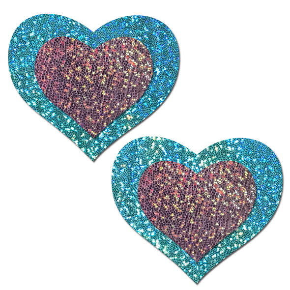 Seafoam / Lilac Glitter Heart Pastease-Pasties-RaverNation