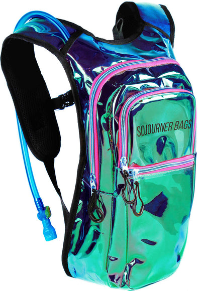 Fanny Pack Medium Hydration Pack Backpack - 2L Water Bladder - Laser Holographic - Purple - SoJourner Bags