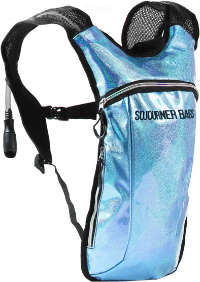 Fanny Pack Hydration Pack Backpack - 2L Water Bladder - Glitter Blue - SoJourner Bags