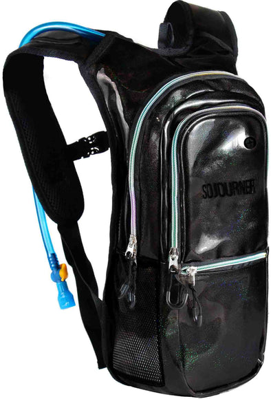 Fanny Pack Medium Hydration Pack Backpack - 2L Water Bladder - Glitter - Black - SoJourner Bags