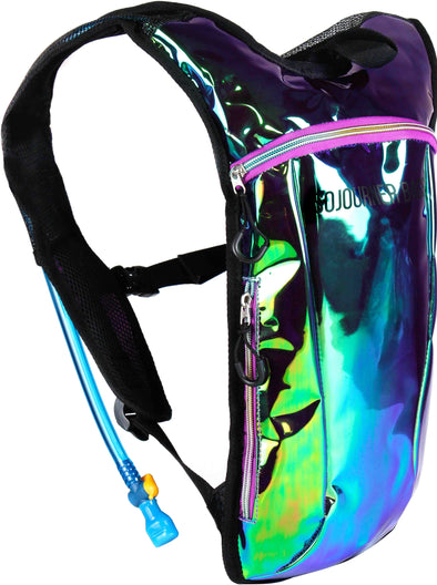 Fanny Pack Hydration Pack Backpack - 2L Water Bladder - Laser Green Purple - SoJourner Bags