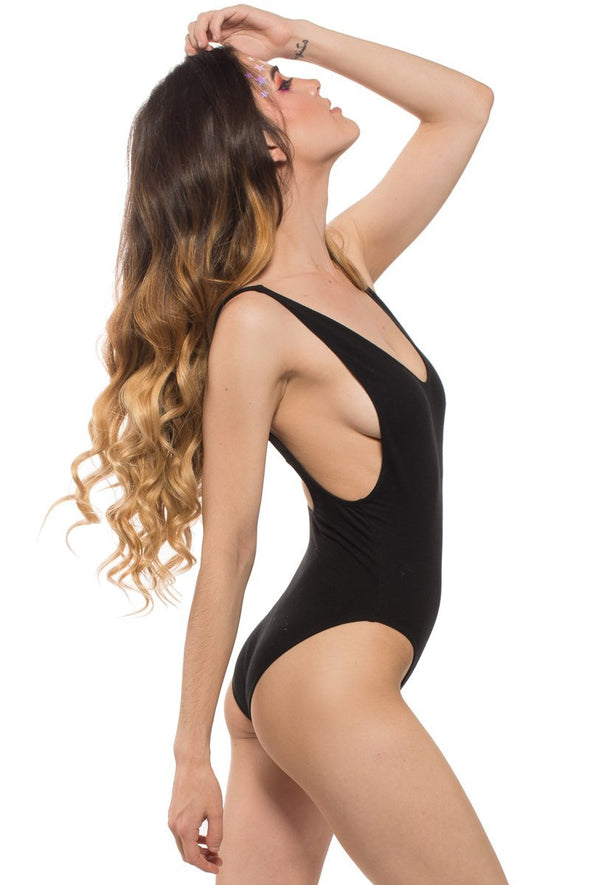 Nirvana Bodysuit in Black Cotton Spandex - ravernationshop
