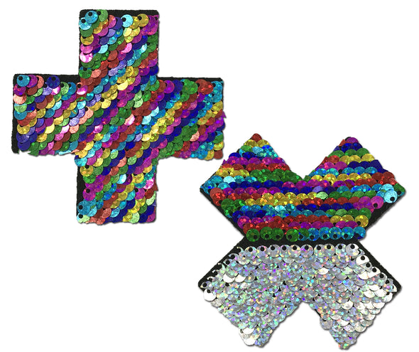 Rainbow Sequin Cross Pastease-Pasties-RaverNation