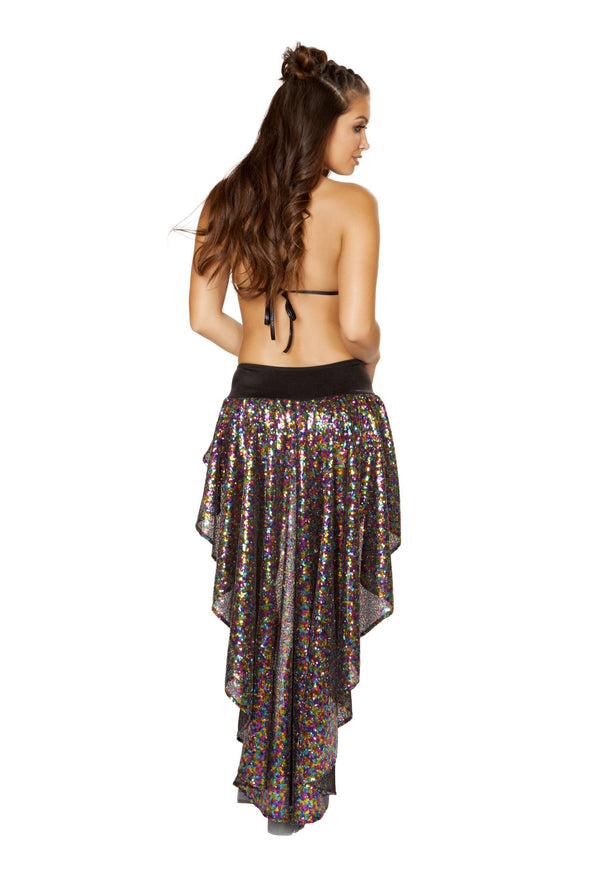 Sequin Shorts with Asymmetrical Attached Open Front Skirt - ravernationshop