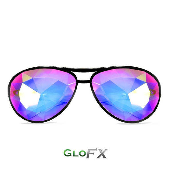GloFX Aviator Style Kaleidoscope Glasses- Black - ravernationshop