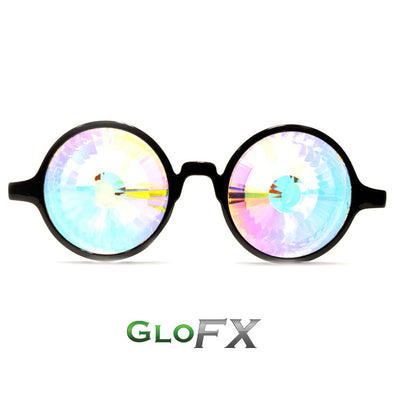 GloFX Black Kaleidoscope Glasses- Rainbow Wormhole - ravernationshop