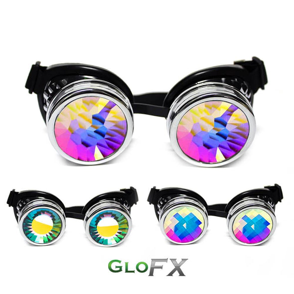 GloFX Chrome Kaleidoscope Goggles- Kaleidoscope Lenses - ravernationshop