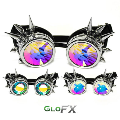 GloFX Chrome Spike Kaleidoscope Goggles- Kaleidoscope Lenses - ravernationshop