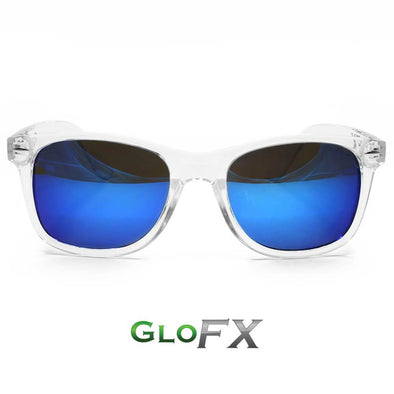 GloFX   Diffraction Glasses-Clear- Blue Mirror - ravernationshop