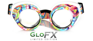 GloFX Kandi Swirl Diffraction Goggles- Clear Diffraction - ravernationshop
