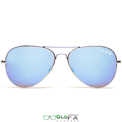GloFX Metal Pilot Aviator Style Diffraction Glasses- Blue Mirror - ravernationshop