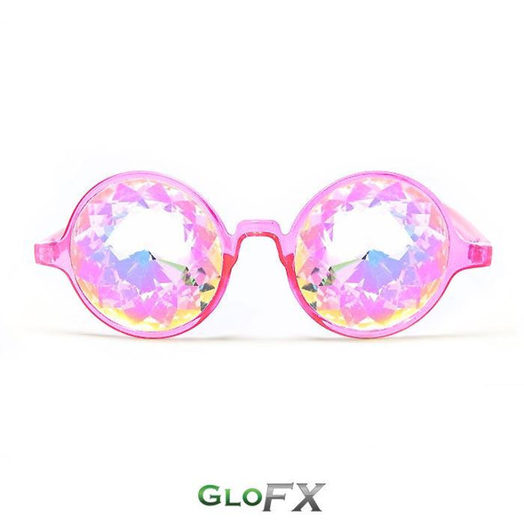 GloFX Transparent Pink Kaleidoscope Glasses-  Rainbow - ravernationshop