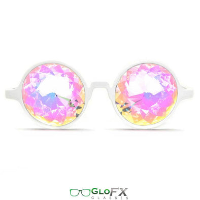 GloFX White Kaleidoscope Glasses- Rainbow - ravernationshop