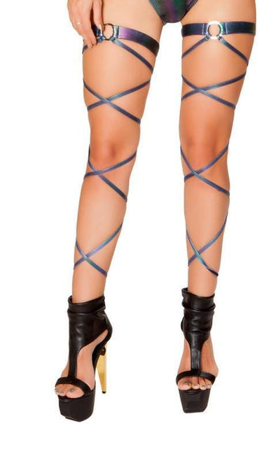 Iridescent Denim Leg Wraps with Attached O-Ring Garters - ravernationshop